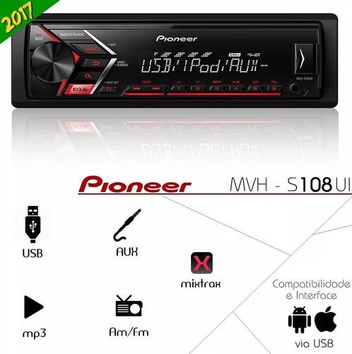 som pioneer mvh-s108ui lançamento 2017 com usb/rca/mp3