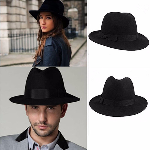 sombrero ala ancha vintage hipster funky excelente negro 30