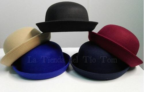 sombrero bombin de fieltro  importado mujer