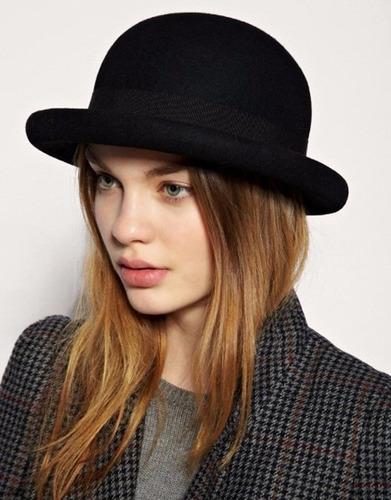 sombrero bombin tipo inglés en fieltro 100% nuevo