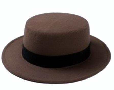 sombrero cafe redondo ala ancha lana vintage 248