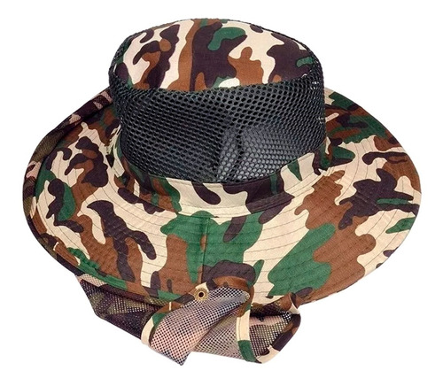 sombrero camuflado gorro mosquitero cubre nuca pesca camping