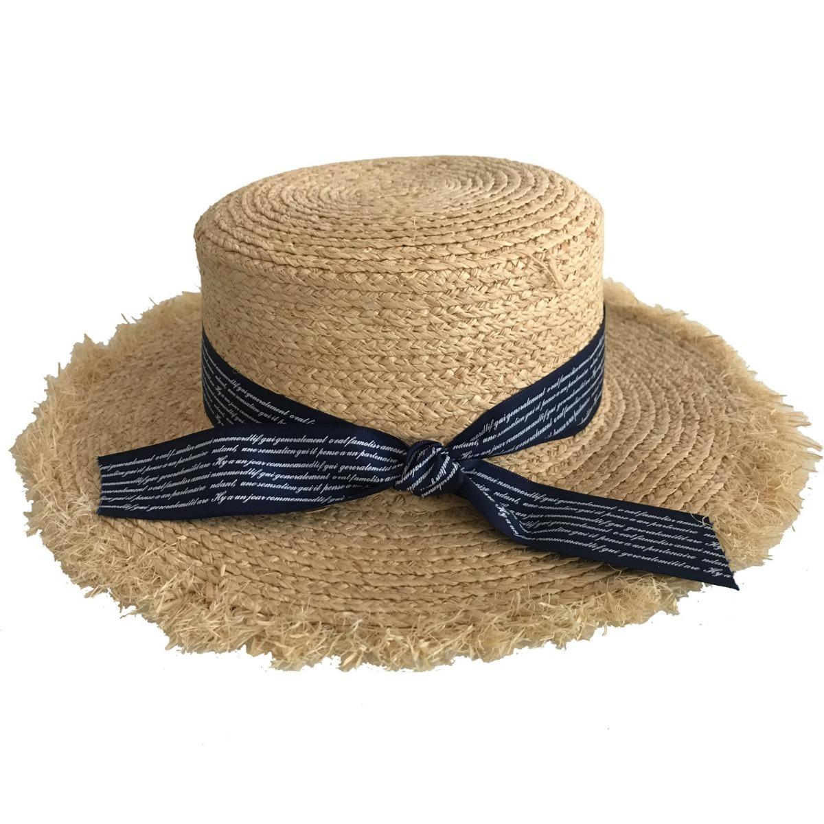 Sombrero Canotier Rafia Defle Compañia De Sombreros 86461115 ... ce5e3229af7