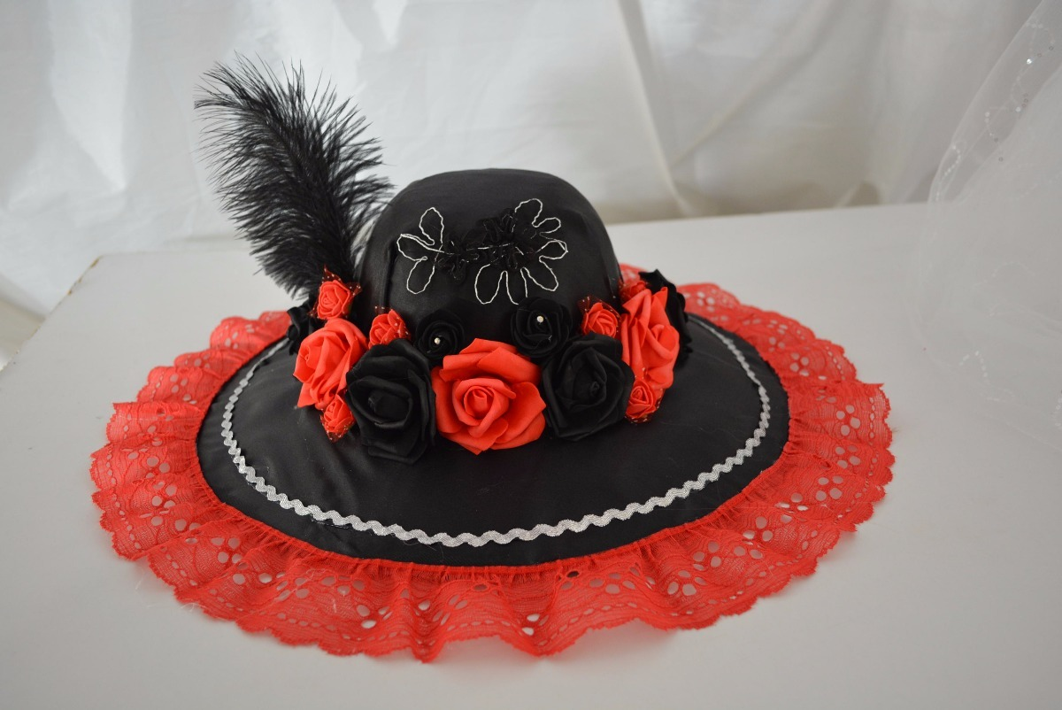 sombrero catrina adult día muertos disfraz rojo hallowen. Cargando zoom. a48e2682208