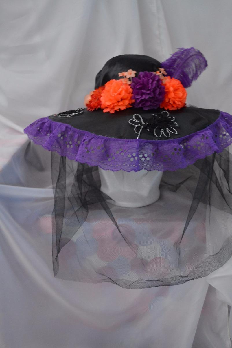Sombrero Catrina Adulta Dia Muertos Halloween Disfraz Morado
