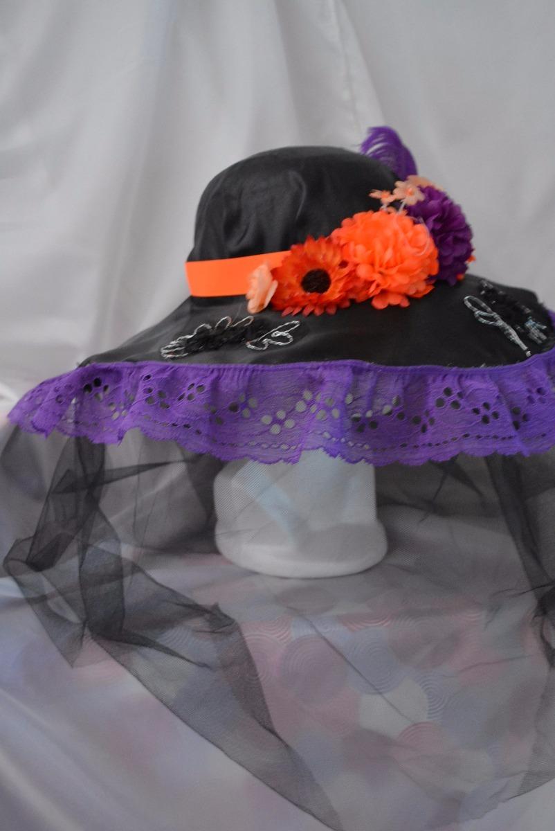 sombrero catrina adulta dia muertos halloween disfraz morado. Cargando zoom. e9479ed4989