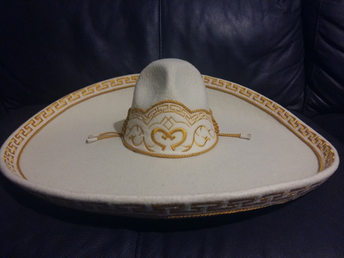 Sombrero Charro Fino Terciopelo Blanco Hueso Bordado Grecas ... 0ff2654ad18
