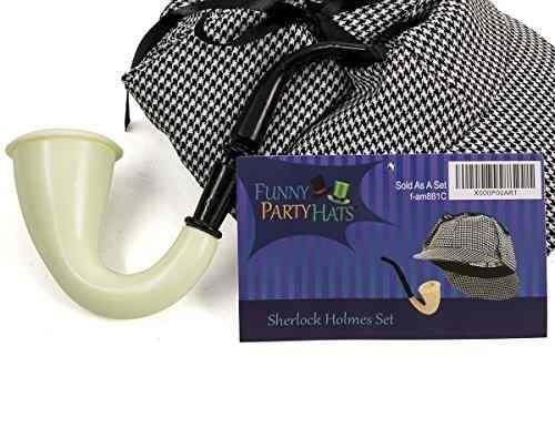 sombrero de detective y pipa de sherlock holmes - kit