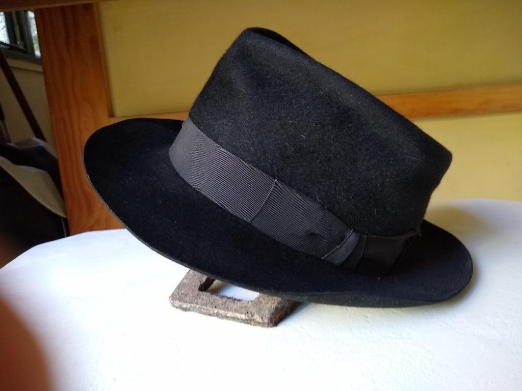 7a679985e7dca sombrero de hombre fieltro de paño color negro -crespo -imp. Cargando zoom.