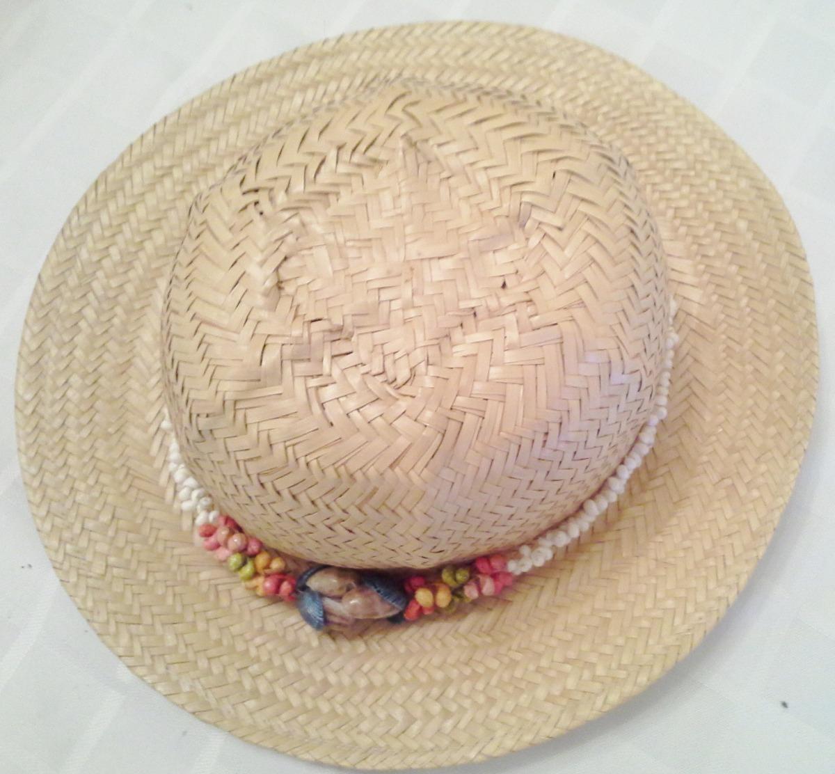 Sombrero De Mimbre Para Playa Decorado Impecable -   300 b7dcb54227e6