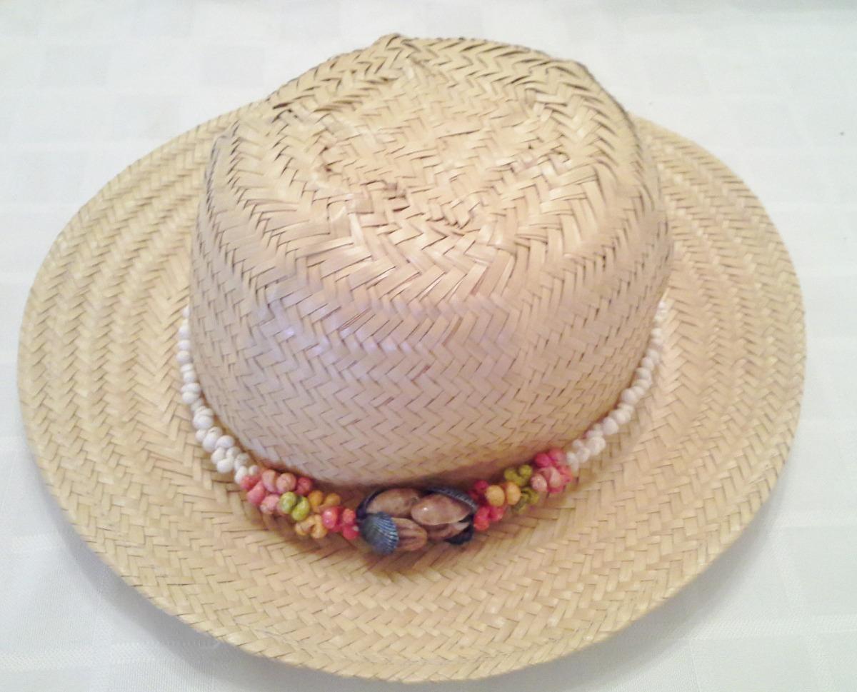 9f55053f232ca Sombrero De Mimbre Para Playa Decorado Impecable -   300