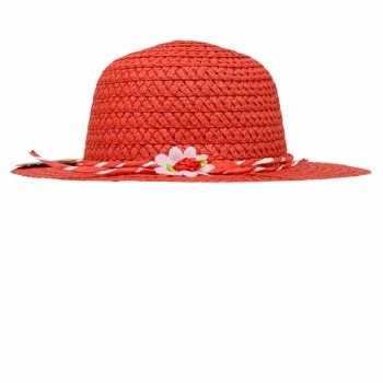 sombrero de niña rojo con diseño floral 6.5 pulg diámetro