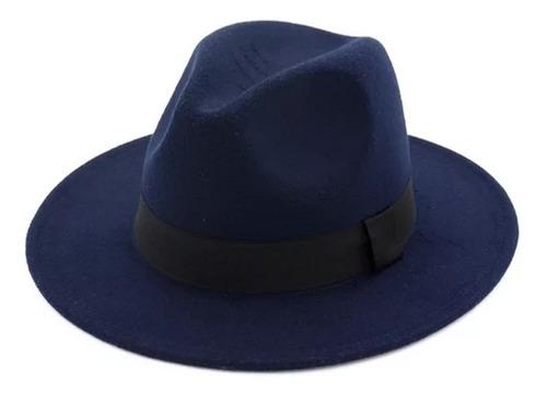 sombrero fedora de moda ala plana en paño talla ajustable