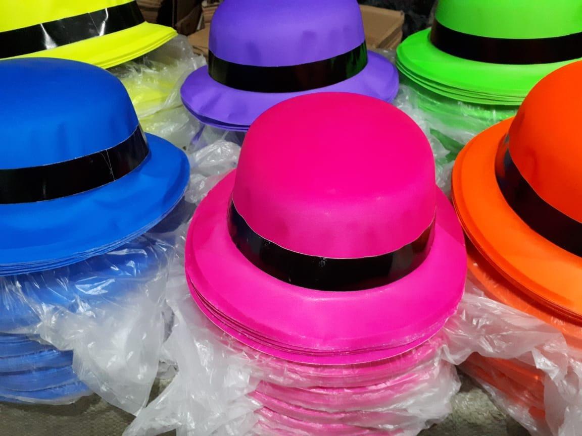 100 Sombrero Bombin Neon Colores Fiesta Batucada Boda Barato ... fa43f97c4dc