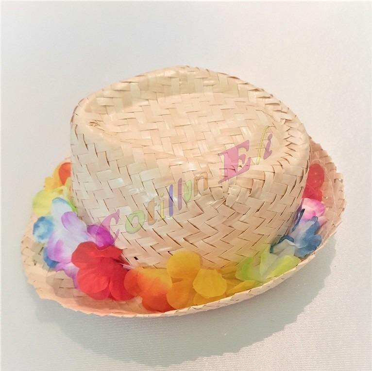 Sombrero Gorro Funy Hawaiano Paja Desflecado C  Flores Tela -   200 ... 5f24bf73379