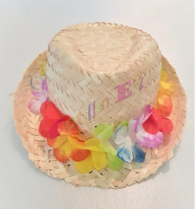 sombrero gorro funy hawaiano paja desflecado c  flores tela. Cargando zoom. ee91a785da2