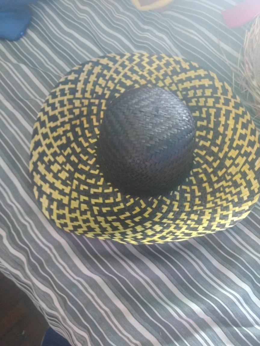 sombrero gorro paja negro y amarillo para disfraz cotillon. Cargando zoom. 84fea9b2ffb