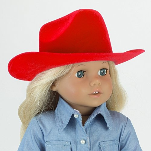sombrero la muñeca la vaquera roja la niña americana 18 pulg
