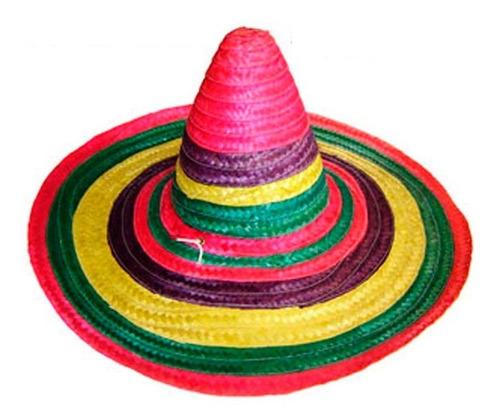 sombrero mexicano de paja cotillón colores - bric