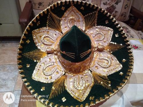 sombrero mexicano pigalle original verde inglés y dorado