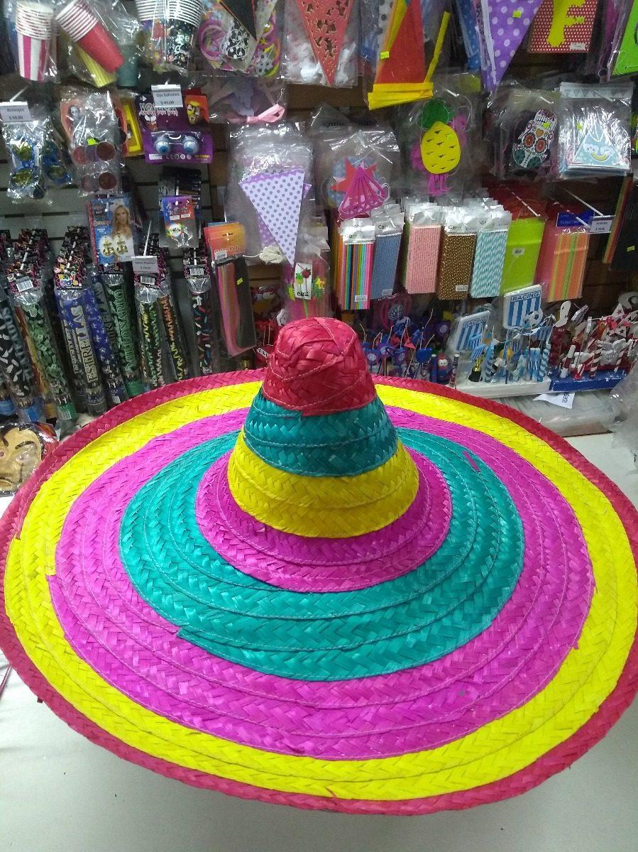 sombrero mexicano rafia paja multicolor cotillon. Cargando zoom. 52b51755c20