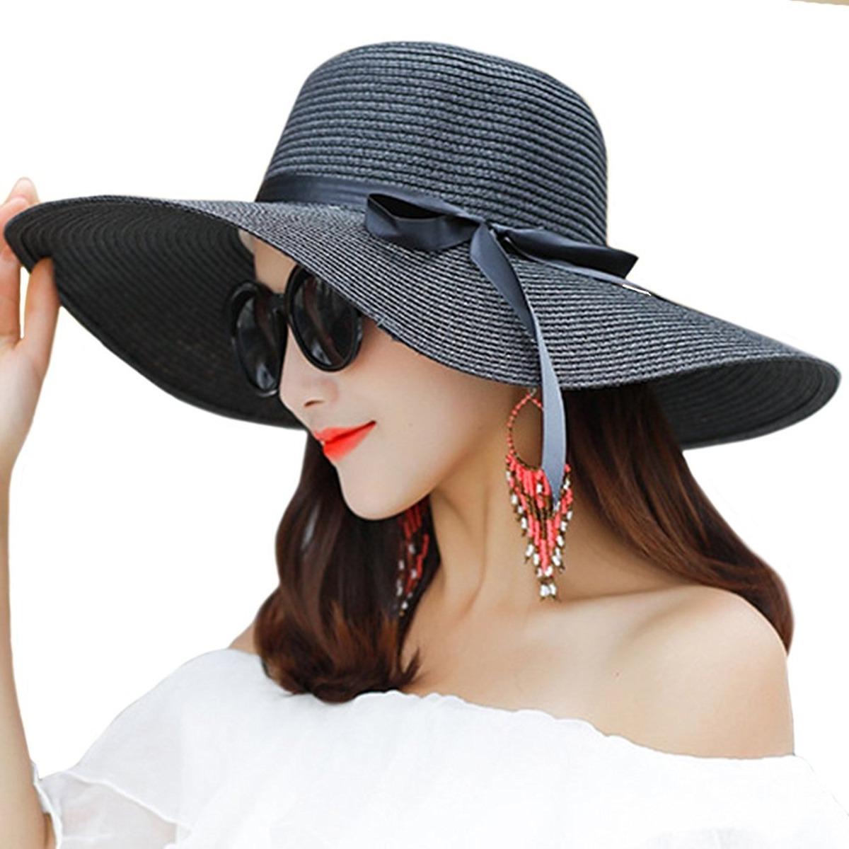 5f7164b67e88c Cargando zoom... mujer sombrero sombrero. Cargando zoom... sombrero de ala  grande para mujer sombrero de paja plegable