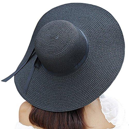 itopfox sombrero de ala grande para mujer sombrero de paj... sombrero mujer  sombrero f8605f82c7f