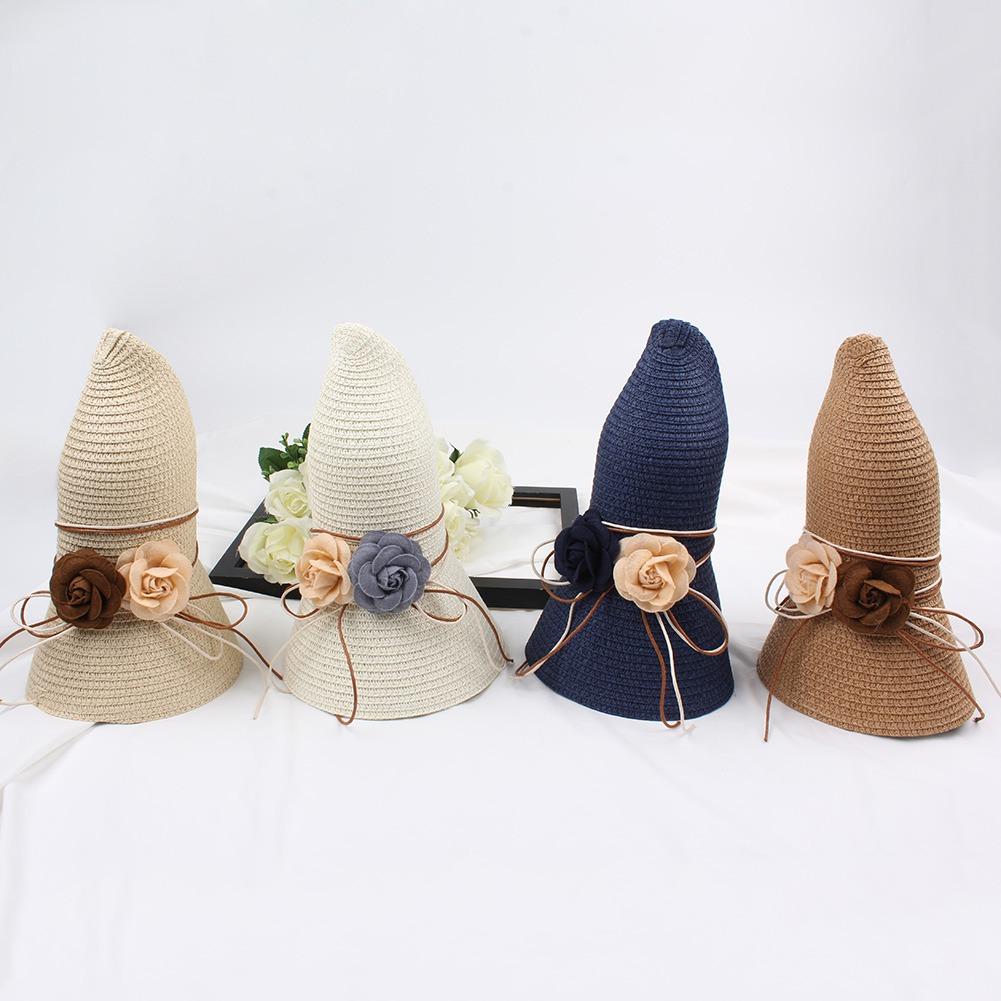 Sombrero Paja Mujeres Flor Contrastar Bloque Color Plegable ...