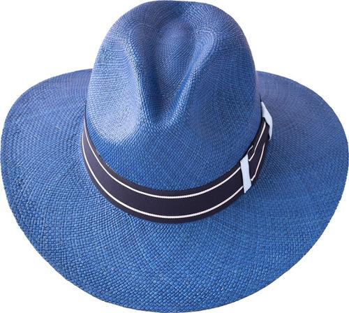 sombrero paja toquilla brisa tejido a mano ref.lusitano blue