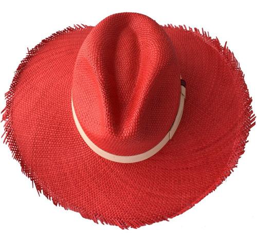 sombrero paja toquilla brisa tejido a mano ref.lusitano red