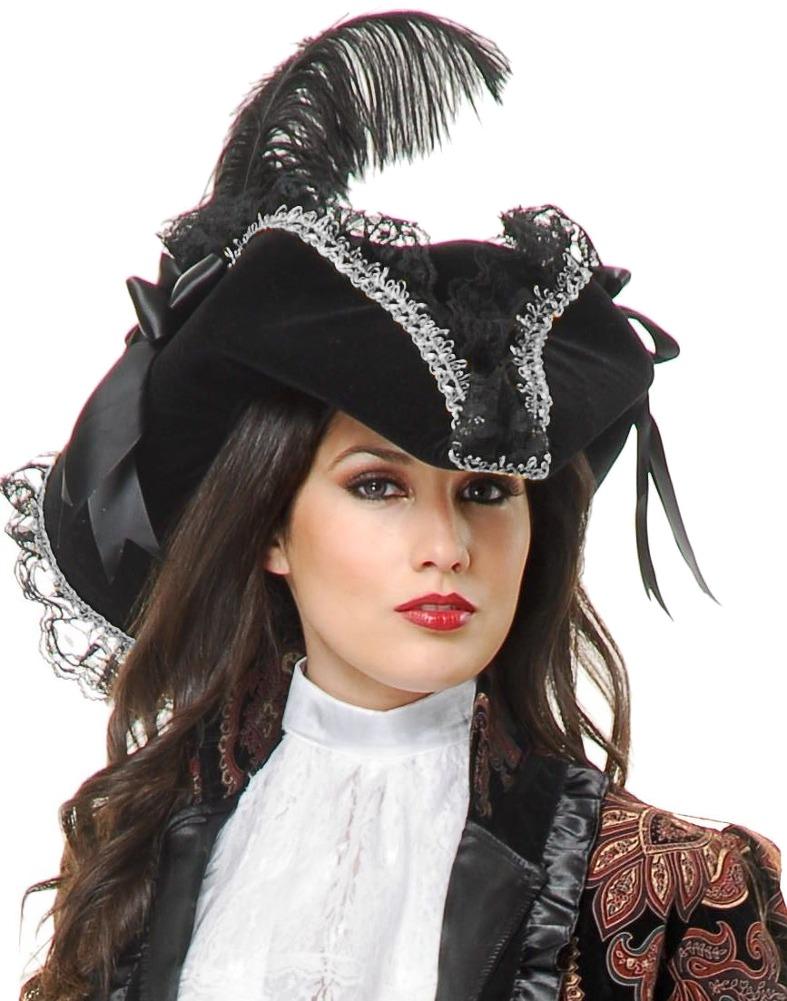 9f71ecec48e9d Sombrero Para Mujer Pirata Negro Con Borde Plateado -   227.550 en ...