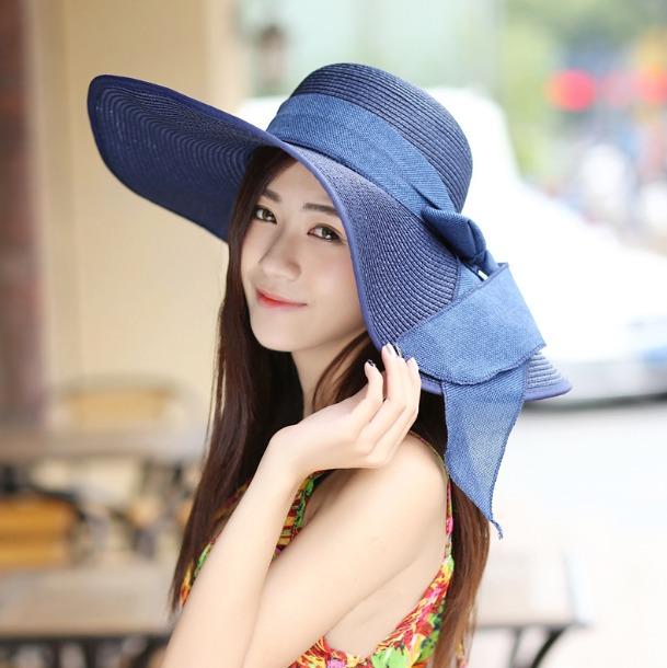 Sombrero Para Playa Azul Y Beige Mujer Spf 25+ Envio Gratis ... f6d392ace402