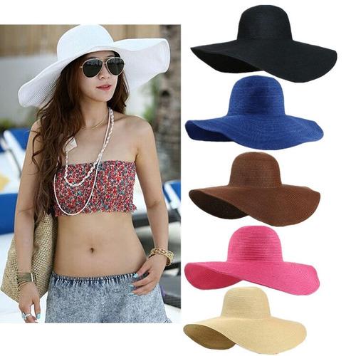 sombrero sol dama flexible ala ancha playa verano 2018
