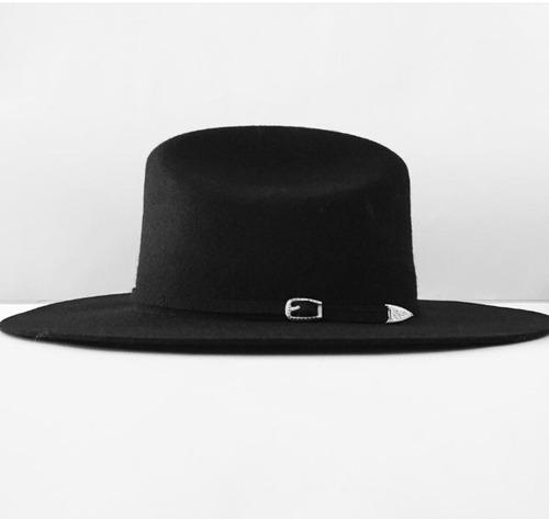 sombrero vanwho hipster vintage negro ala 10 cm.