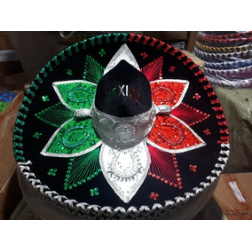 1f84d99fa4585 Sombrero Charro Tricolor Negro Mexicano Adulto Mariachi