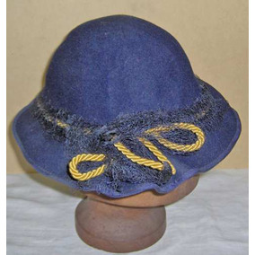 b4c8a39b1246b Antiguo Sombrero Artesanal Fieltro Azul Cinta Gros Y Tul Ex
