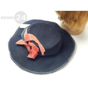 de85350668dea Antiguo Sombrero De Paño De Fieltro Color Negro Con Cinta