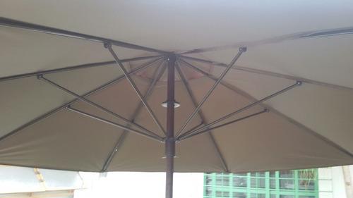 sombrilla de madera y metal gigante de 3 metros.