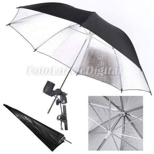 sombrilla paraguas fotografia estudio flash plateada silver