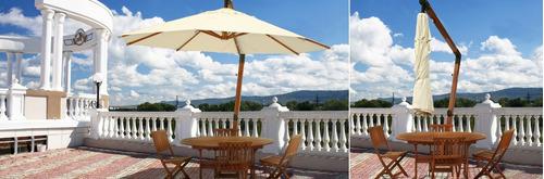 sombrilla parasol con soporte lateral  de madera