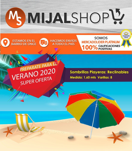 sombrilla playa playera camping 8 varillas reclinable