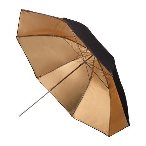 sombrilla reflectiva 33 inch negra y dorada lighting umbrell