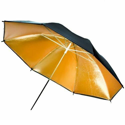 sombrilla reflectora dorada para fotografía y video