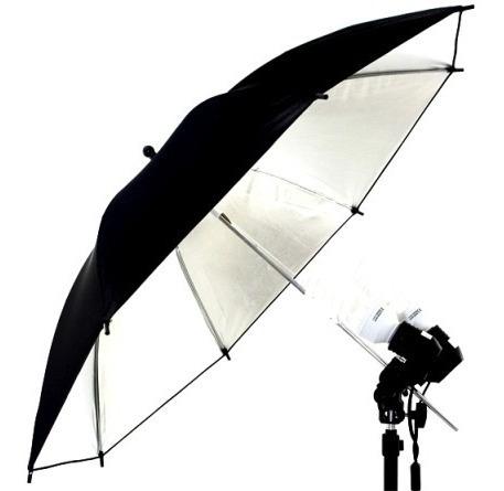 sombrinha estúdio fotográfico prateada 85cm preta/prata