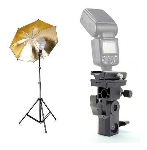 sombrinha rebatedora dourada + suporte de flash b
