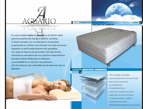 somier y colchon 140x190x 32 jackard pillow mas cover