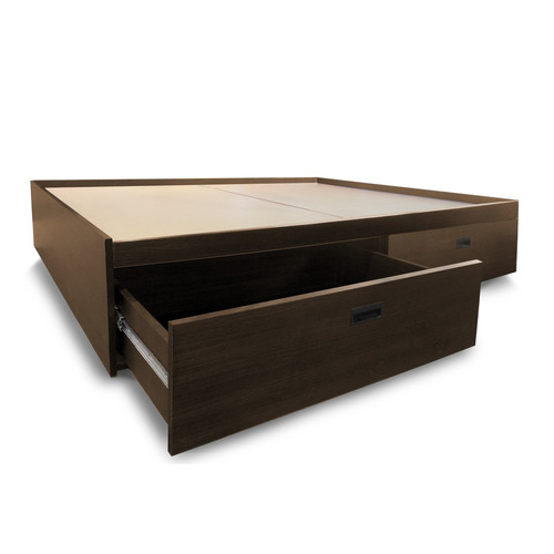 sommier cama cajón 2 plaza melamina wengue 4 cajones lateral