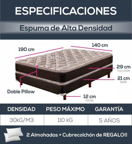 sommier colchon  cannon exclusive pillow 140x190 e/grat caba
