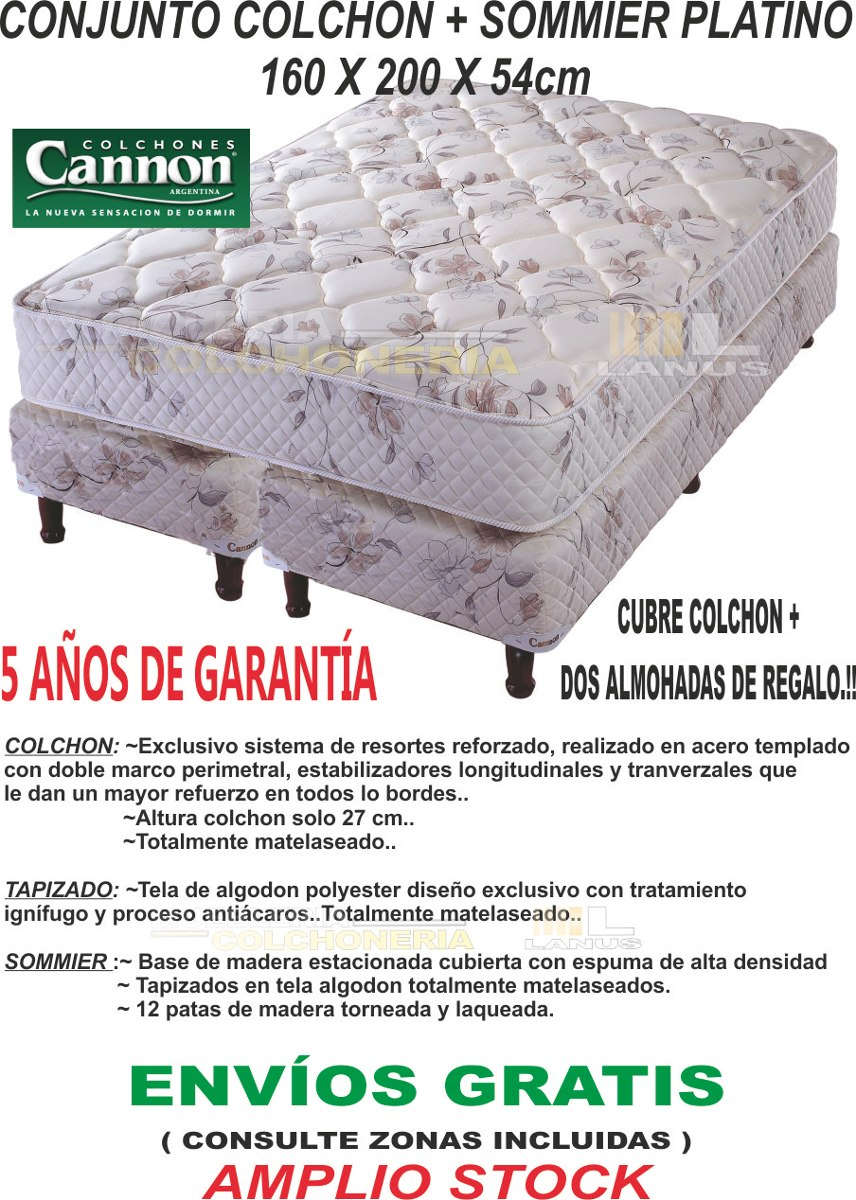 Sommier Y Colchon Cannon Platino 160x200 Queen Envío Gratís ...