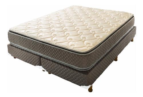 sommier queen size 190x160 doble pillow jackard + almohadas
